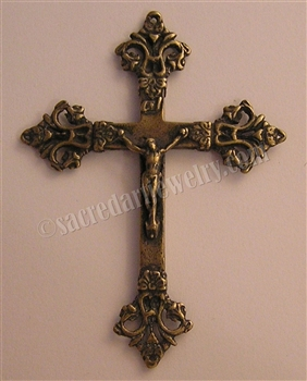 "French Victorian Crucifix 2 3/4"" - Catholic religious medals and cross necklaces and in authentic antique and vintage styles with amazing detail. Big collection of crosses, medals and a variety of chains in sterling silver and bronze."