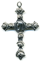 "Mary with Roses Cross 2 1/2"" - Catholic religious rosary parts in authentic antique and vintage styles with amazing detail. Large collection of crucifixes, centerpieces, and heirloom medals made by hand in true bronze and .925 sterling silver."