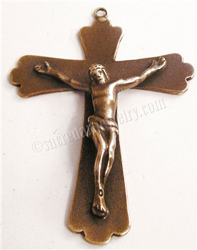 "Simple Trinity Crucifix 2"" - Catholic religious rosary parts in authentic antique and vintage styles with amazing detail. Large collection of crucifixes, centerpieces, and heirloom medals made by hand in California, US. Available in true bronze and .925 s"