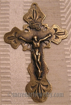 "Phillipines Crucifix 2 1/4"" - Catholic religious rosary parts in authentic antique and vintage styles with amazing detail. Large collection of crucifixes, centerpieces, and heirloom medals made by hand in true bronze and .925 sterling silver."