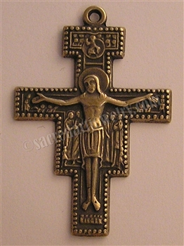 "San Damiano St Francis Prayer Crucifix 2"" - Catholic religious rosary parts in authentic antique and vintage styles with amazing detail. Large collection of crucifixes, centerpieces, and heirloom medals made by hand in true bronze and .925 sterling silver"