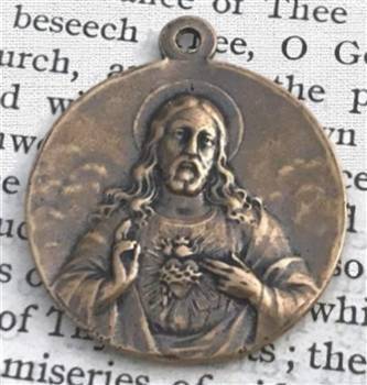 "Sacred Heart Medal 1"" - Catholic religious medals in authentic antique and vintage styles with amazing detail. Large collection of heirloom pieces made by hand in California, US. Available in true bronze and sterling silver."