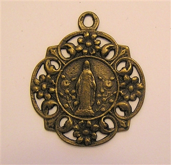"Virgin Mary Medal 1"" - Catholic religious medals in authentic antique and vintage styles with amazing detail. Large collection of heirloom pieces made by hand in California, US. Available in true bronze and sterling silver."