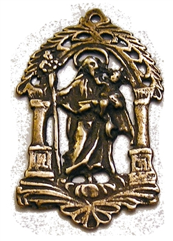 "Saint Joseph Medal 1 7/8"" - Catholic religious medals in authentic antique and vintage styles with amazing detail. Large collection of heirloom pieces made by hand in California, US. Available in true bronze and sterling silver."