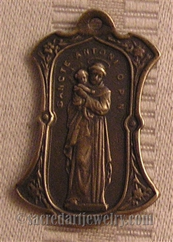 "St Anthony Medal with Jesus & Mary 1 1/4"" - Catholic religious medals in authentic antique and vintage styles with amazing detail. Large collection of heirloom pieces made by hand in California, US. Available in sterling silver and bronze."
