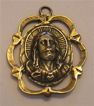 "Face of Jesus Medal 1 1/4"" - Catholic religious medals in authentic antique and vintage styles with amazing detail. Large collection of heirloom pieces made by hand in California, US. Available in sterling silver and true bronze."