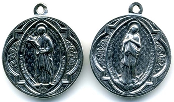 "St Aloysius Gonzaga Medal 1 1/8""- Catholic religious medals in authentic antique and vintage styles with amazing detail. Large collection of heirloom pieces made by hand in California, US. Available in sterling silver and true bronze."