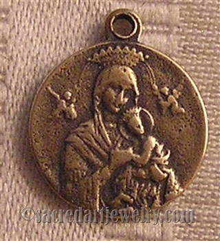 "Our Lady of Perpetual Help Medal, St Gerard 5/8"" - Patron of Motherhood and Fertility - ​Catholic religious medals in authentic antique and vintage styles with amazing detail. Large collection of heirloom pieces made by hand in California, US."