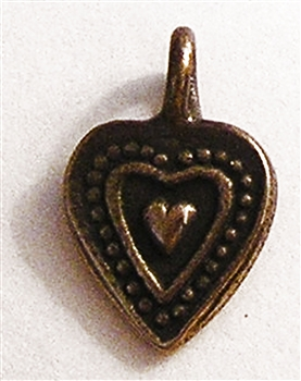 "Tiny Small Heart Pendant 1/2"" - Charms and pendants in authentic antique and vintage styles with amazing detail. Large collection of heirloom pieces made by hand in California, US. Available in sterling silver or true bronze."