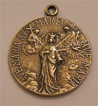 "Step Back Satan Medal 1"" - Catholic religious medals in authentic antique and vintage styles with amazing detail. Large collection of heirloom pieces made by hand in California, US. Available in sterling silver and bronze."