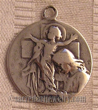"Crib Medal, Joyous Nativity 1"" - Catholic religious medals in authentic antique and vintage styles with amazing detail. Large collection of heirloom pieces made by hand in California, US. Available in true bronze and sterling silver."