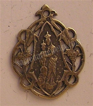 "Our Lady of Victory Medal 1"" - Catholic religious medals in authentic antique and vintage styles with amazing detail. Large collection of heirloom pieces made by hand in California, US. Available in true bronze and sterling silver."