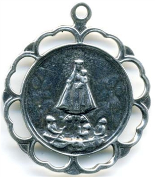 "Our Lady of Charity Medal 1 1/2"" - Catholic religious medals in authentic antique and vintage styles with amazing detail. Large collection of heirloom pieces made by hand in California, US. Available in sterling silver and true bronze."