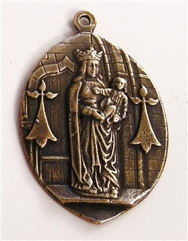 "Blessed Mother Medal with Baby Jesus 1 1/2"" - Catholic religious medals in authentic antique and vintage styles with amazing detail. Large collection of heirloom pieces made by hand in California, US. Available in true bronze and sterling silver."