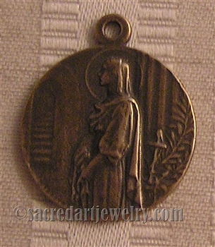 "St Philomena Medal 1"" - Catholic religious medals in authentic antique and vintage styles with amazing detail. Large collection of heirloom pieces made by hand in California, US. Available in sterling silver and true bronze"