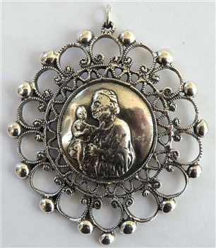 St Anthony Medallion, Large, Antique, 17th C handmade model - Catholic religious medals and medallions in authentic antique and vintage styles with amazing detail. Large collection of heirloom pieces made by hand in California, US.