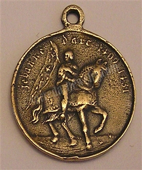 "Joan of Arc Medal on Horseback 1"" - Catholic religious medals in authentic antique and vintage styles with amazing detail. Large collection of heirloom pieces made by hand in California, US. Available in sterling silver and true bronze"