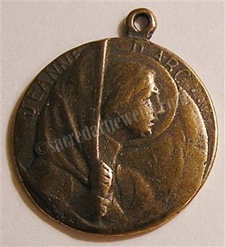 "Joan of Arc Medal at Reims 3/4"" - Catholic religious medals in authentic antique and vintage styles with amazing detail. Large collection of heirloom pieces made by hand in California, US. Available in sterling silver and true bronze"
