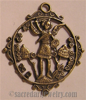 "St Michael Medallion 2 5/8"" is part of our collection of Catholic religious medals in authentic antique and vintage styles with amazing detail. Large collection of heirloom pieces made by hand in California, US."