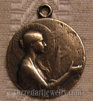 "St Cecilia Medal 7/8"" - Catholic religious medals in authentic antique and vintage styles with amazing detail. Large collection of heirloom pieces made by hand in California, US. Available in true bronze and sterling silver"