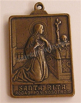 "St Rita Medal 1 1/2"" - Catholic religious medals in authentic antique and vintage styles with amazing detail. Large collection of heirloom pieces made by hand in California, US. Available in sterling silver"