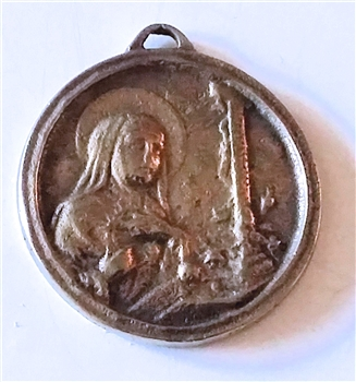"Saint Rita Medal 1 1/8"" - Catholic religious medals in authentic antique and vintage styles with amazing detail. Large collection of heirloom pieces made by hand in California, US. Available in true bronze and sterling silver"