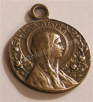 "Rosa Mystica Medal Notre Dame 1"" - Catholic religious medals in authentic antique and vintage styles with amazing detail. Large collection of heirloom pieces made by hand in California, US. Available in true bronze and sterling silver"