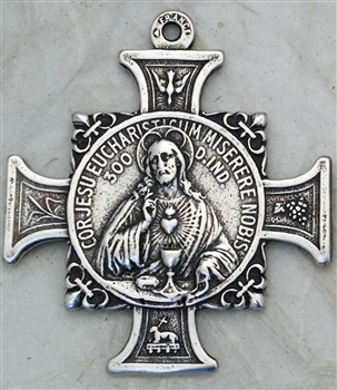 "Sacred Heart Cross Monstrance Medal 1 3/4"" - Catholic religious medals in authentic antique and vintage styles with amazing detail. Large collection of heirloom pieces made by hand in California, US. Available in true bronze and sterling silver"