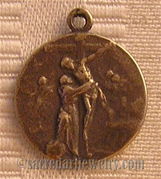 "Good Peace Crucifixion Medal 3/4"" - Catholic religious medals in authentic antique and vintage styles with amazing detail. Large collection of heirloom pieces made by hand in California, US. Available in true bronze and sterling silver"