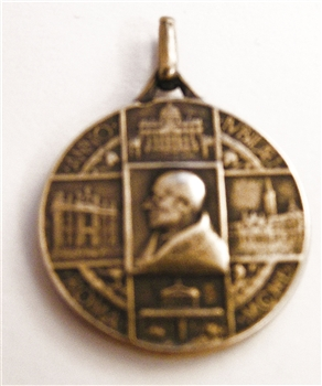 "Pope Pius XII Medal 1"" - Catholic religious medals in authentic antique and vintage styles with amazing detail. Large collection of heirloom pieces made by hand in California, US. Available in true bronze and sterling silver"