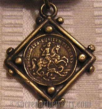 "Saint George Medal 1"" - Catholic religious medals in authentic antique and vintage styles with amazing detail. Large collection of heirloom pieces made by hand in California, US. Available in true bronze and sterling silver"