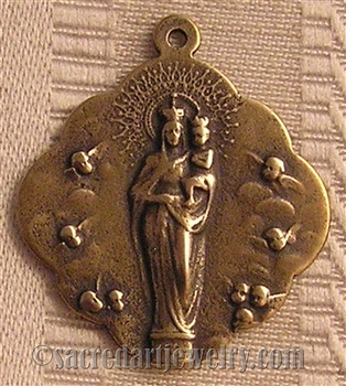 "Blessed Mother Medal Queen of Angels 1 1/4"" - Catholic religious medals in authentic antique and vintage styles with amazing detail. Large collection of heirloom pieces made by hand in California, US. Available in true bronze and sterling silver"