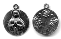 "Saint Margaret Medal 7/8"" - Catholic religious medals in authentic antique and vintage styles with amazing detail. Large collection of heirloom pieces made by hand in California, US. Available in true bronze and sterling silver"