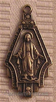 "Medal Miraculous Open Work 1 1/4"" - Catholic religious medals in authentic antique and vintage styles with amazing detail. Large collection of heirloom pieces made by hand in California, US. Available in true bronze and sterling silver"