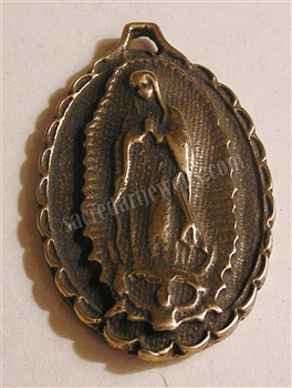"Guadalupe Medal Large 1 1/2"" - Catholic religious medals in authentic antique and vintage styles with amazing detail. Large collection of heirloom pieces made by hand in California, US. Available in true bronze and sterling silver"