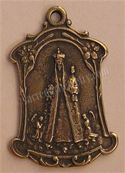 "St Anne Medal with Angels 1 1/4"" - Catholic religious medals in authentic antique and vintage styles with amazing detail. Large collection of heirloom pieces made by hand in California, US. Available in true bronze and sterling silver"
