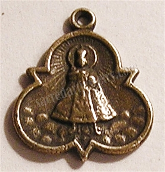 "Infant of Prague Medal 5/8"" - Catholic religious medals in authentic antique and vintage styles with amazing detail. Large collection of heirloom pieces made by hand in California, US. Available in true bronze and sterling silver"