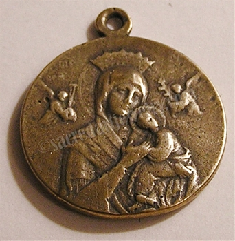 "Blessed Mother Medal, Queen of Angels 1"" - Catholic religious medals in authentic antique and vintage styles with amazing detail. Large collection of heirloom pieces made by hand in California, US. Available in true bronze and sterling silver"