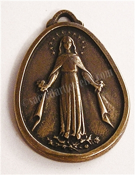 "Virgin Mary Medal 1 3/8"" - Catholic religious medals in authentic antique and vintage styles with amazing detail. Large collection of heirloom pieces made by hand in California, US. Available in true bronze and sterling silver"