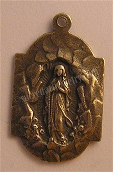 "Our Lady of Lourdes Medal 1"" - Catholic religious medals in authentic antique and vintage styles with amazing detail. Large collection of heirloom pieces made by hand in California, US. Available in true bronze and sterling silver"