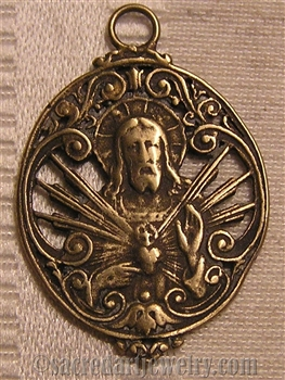 "Sacred Heart Medal 1 1/4"" - Catholic religious medals in authentic antique and vintage styles with amazing detail. Large collection of heirloom pieces made by hand in California, US. Available in true bronze and sterling silver"