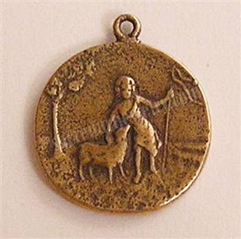 "Jesus The Little Shepherd Medal 3/4"" - Catholic religious medals in authentic antique and vintage styles with amazing detail. Large collection of heirloom pieces made by hand in California, US. Available in true bronze and sterling silver"