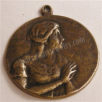 "Mary Magdalene Medal Profile 1""  - Catholic religious medals in authentic antique and vintage styles with amazing detail. Large collection of heirloom pieces made by hand in California, US. Available in true bronze and sterling silver"