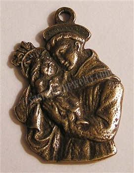 "Saint Anthony Medal 1 1/4"" - Catholic religious medals in authentic antique and vintage styles with amazing detail. Large collection of heirloom pieces made by hand in California, US. Available in true bronze and sterling silver"
