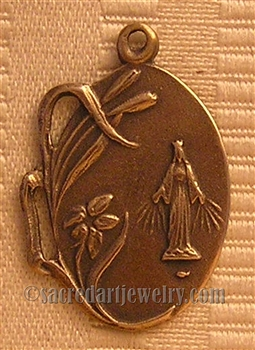 "Miraculous Mary Medal 1"" - Catholic religious medals in authentic antique and vintage styles with amazing detail. Large collection of heirloom pieces made by hand in California, US. Available in true bronze and sterling silver"