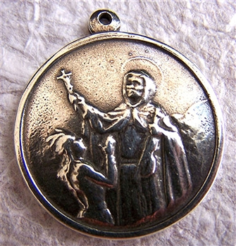 "St Francis Solano Medal 1 1/2"" - Catholic religious medals in authentic antique and vintage styles with amazing detail. Large collection of heirloom pieces made by hand in California, US. Available in true bronze and sterling silver"