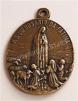"Our Lady of Fatima Medal 1 1/4"" - Catholic religious medals in authentic antique and vintage styles with amazing detail. Large collection of heirloom pieces made by hand in California, US. Available in true bronze and sterling silver"