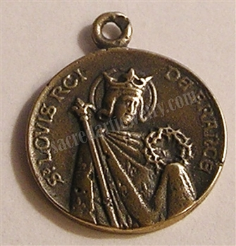 "Saint Louis Medal 3/4"" - Catholic religious medals in authentic antique and vintage styles with amazing detail. Large collection of heirloom pieces made by hand in California, US. Available in true bronze and sterling silver"