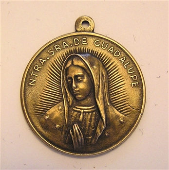 "Guadalupe Medal 1 1/8"" - Catholic religious medals in authentic antique and vintage styles with amazing detail. Large collection of heirloom pieces made by hand in California, US. Available in true bronze and sterling silver"