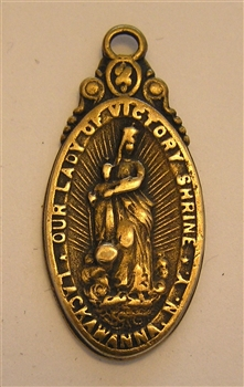 "Blessed Mother Medal, Our Lady of Victory 1 1/2"" - Catholic religious medals in authentic antique and vintage styles with amazing detail. Large collection of heirloom pieces made by hand in California, US. Available in true bronze and sterling silver"